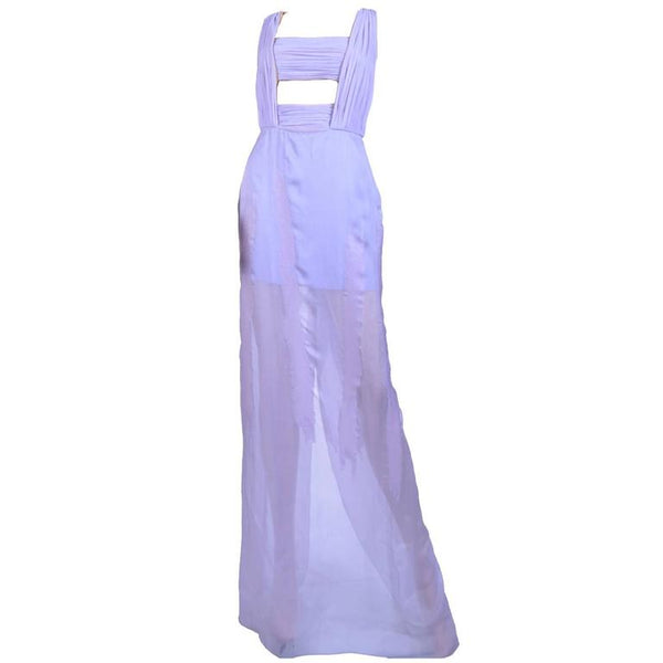 New VERSACE Lilac Chiffon Long Dress