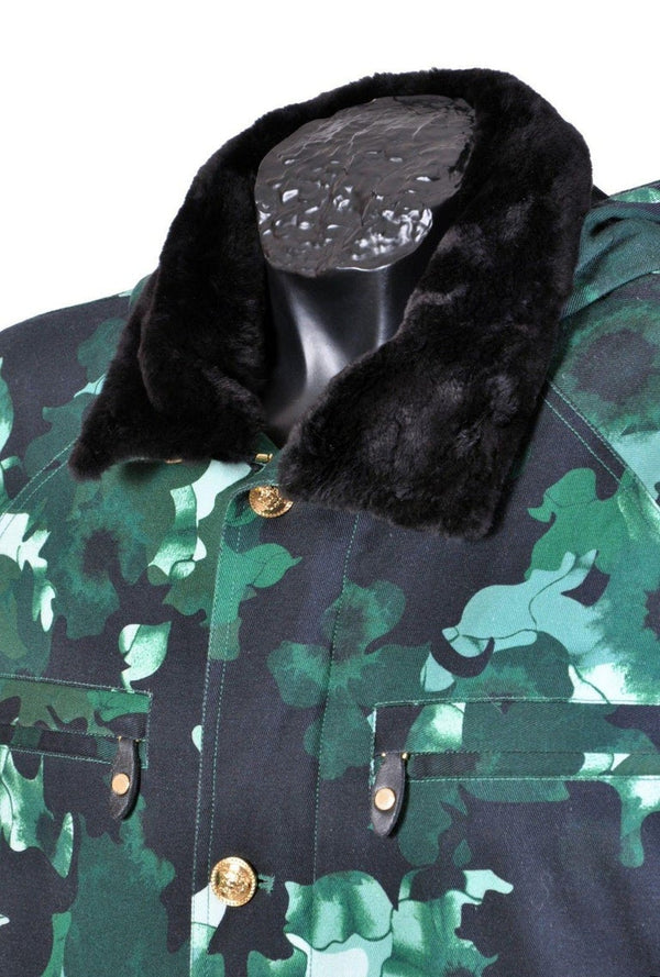 New VERSACE Military Jacket with Beaver Fur for Men