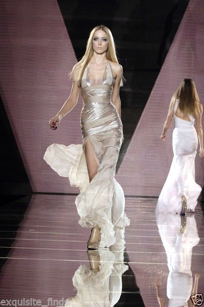 New VERSACE NUDE SEQUIN EMBELLISHED LONG DRESS GOWN