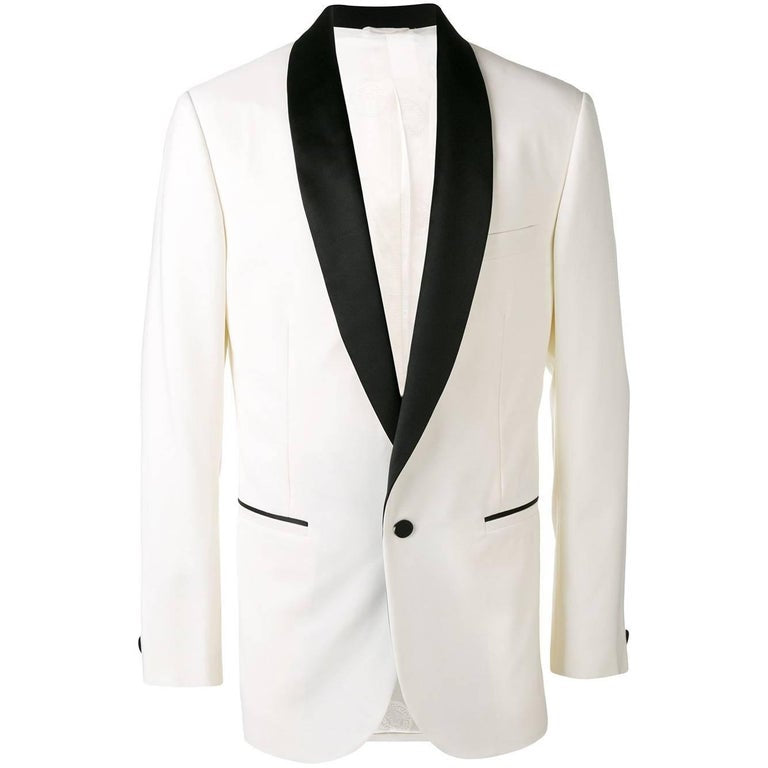 New VERSACE OPTIC WHITE TUXEDO EVENING JACKET for MEN