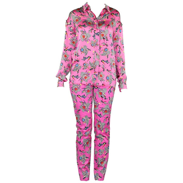 New VERSACE PRINTED PINK SILK PANT SUIT