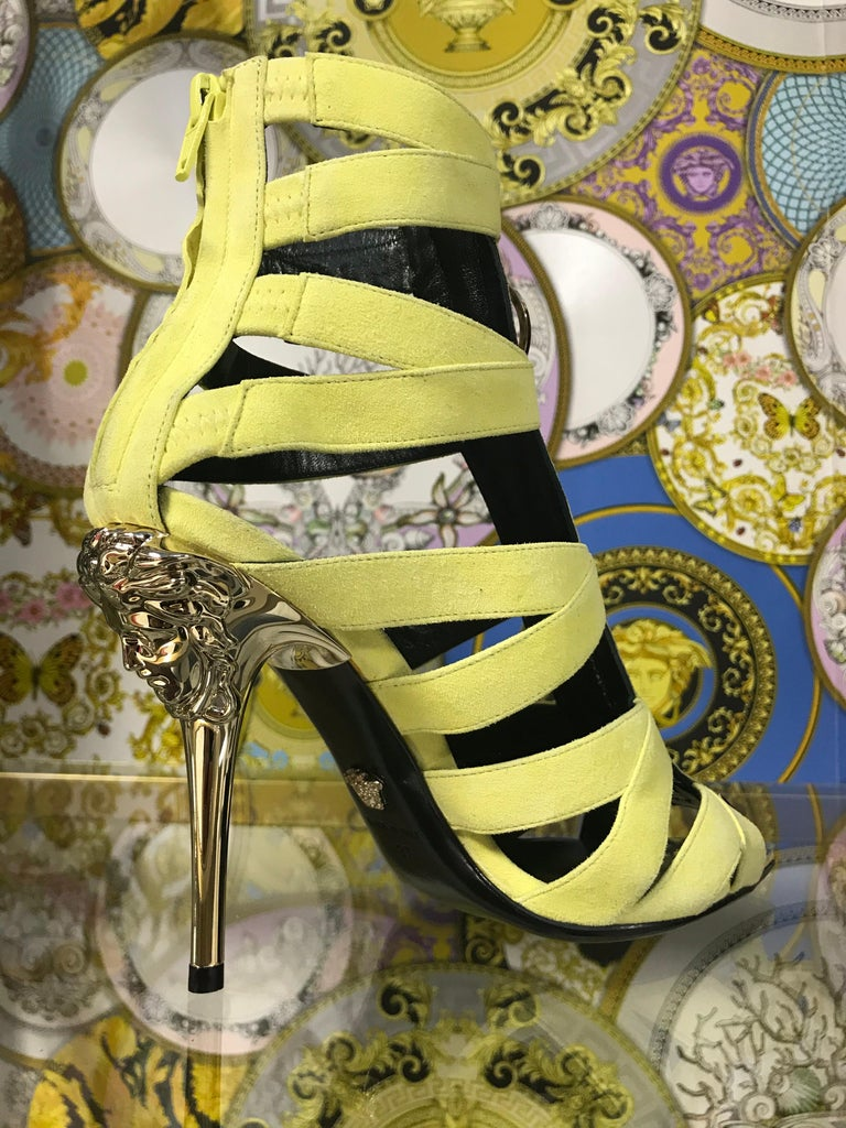 New VERSACE Palazzo Suede Leather Gladiator Sandals