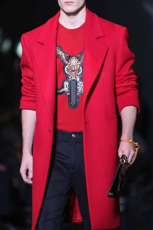 New VERSACE MEN's RED JEWEL EMBELLISHED 100% CASHMERE CREWNECK SWEATER