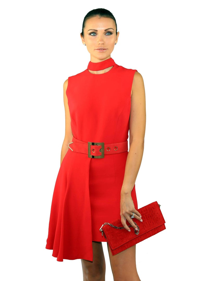 New VERSACE RED SILK DRESS with BELT