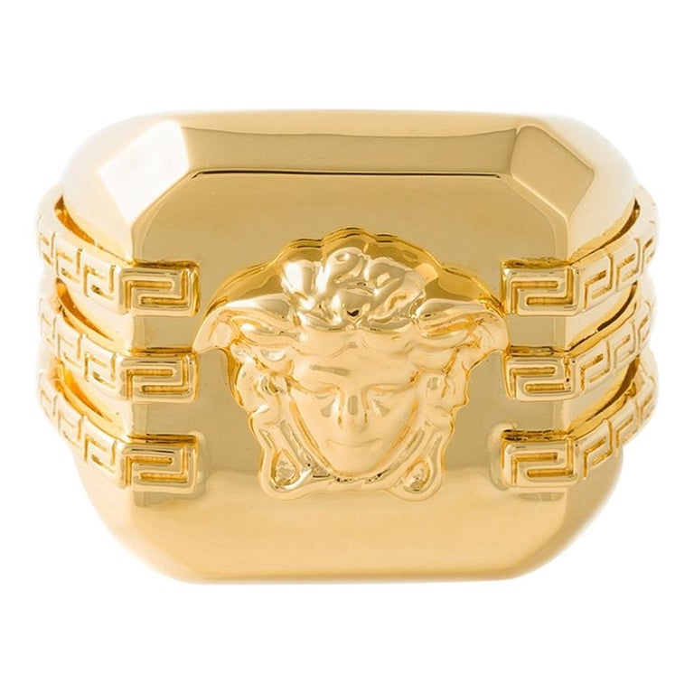 New VERSACE Square Medusa Ring in Gold