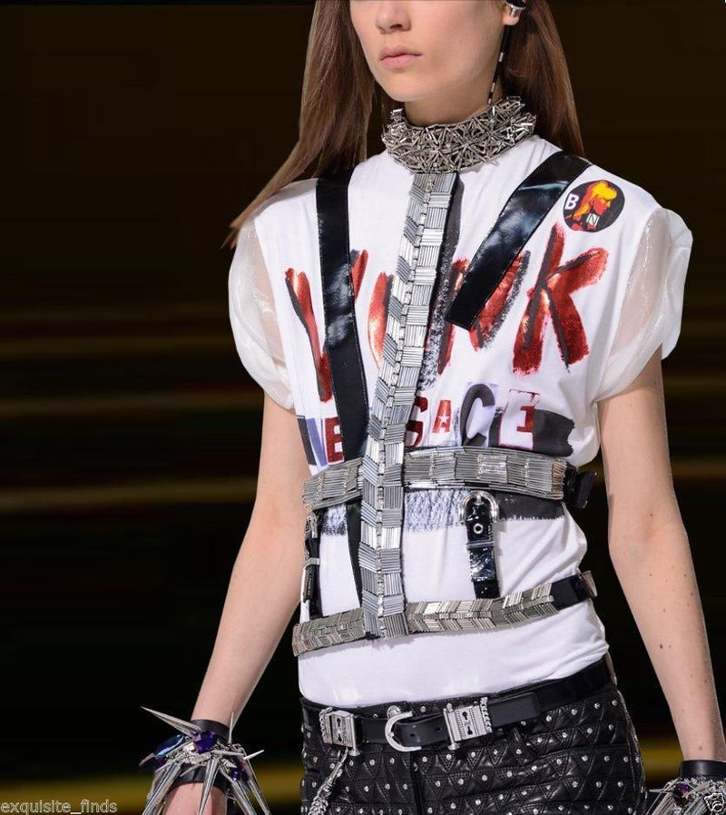 New VERSACE T-strap Embellished Harness with Crystals