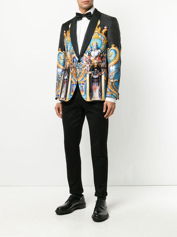 New VERSACE Triptych Print Silk Blazer for Men
