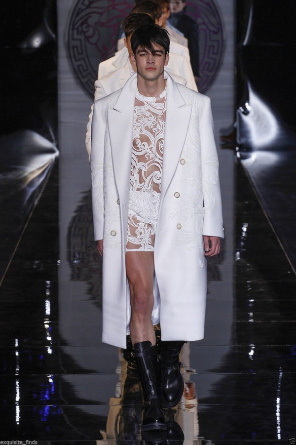 New VERSACE WHITE 100% CASHMERE EMBELLISHED MEN's COAT