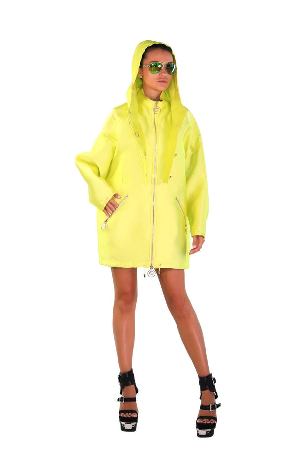 New VERSACE Yellow Silk Coat