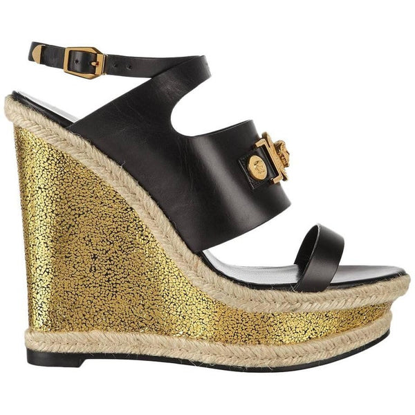 New VERSACE Gold Rope Platform Wedge Sandals