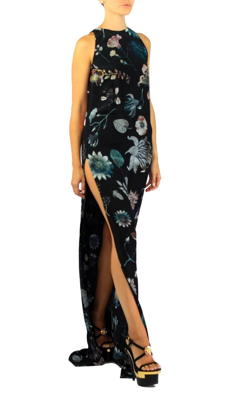 New VERSUS VERSACE + Anthony Vaccarello Floral print Silk long dress