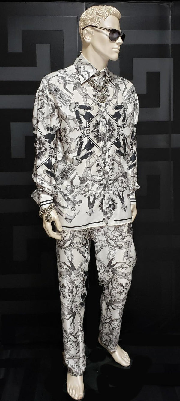 New Versace 100% Silk 90-s Print Lounge Suit for Men