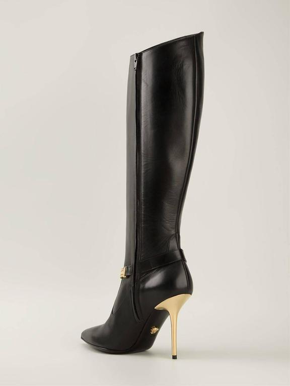 New Versace Black Leather Medusa Knee High Boots