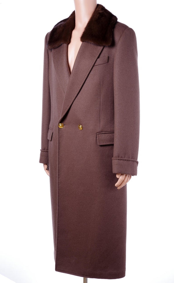 New Versace Brown Wool Coat with Mink Fur for Men