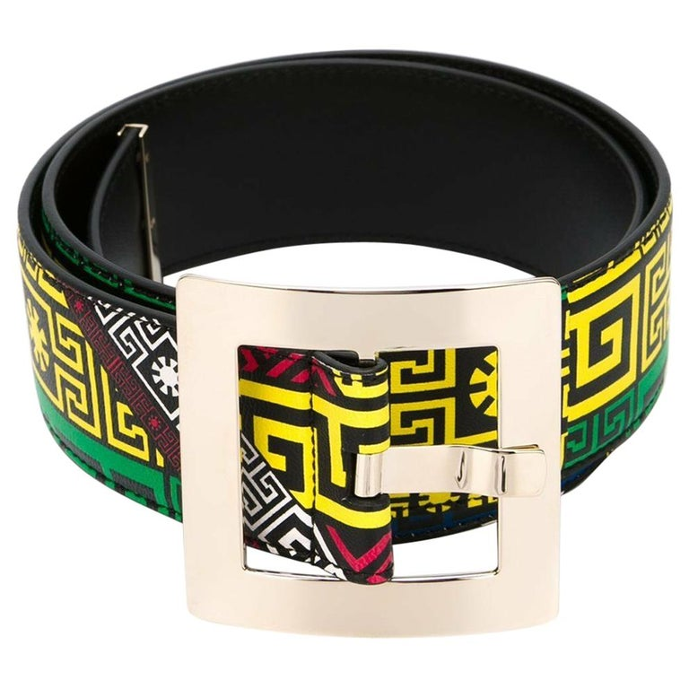 New Versace #GREEK PUZZLE PRINT LEATHER BELT 70/28