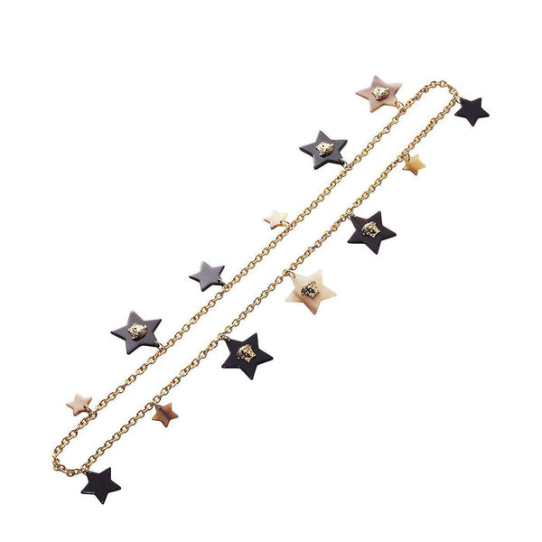 New Versace Gold Star Medusa Charm Chain Necklace