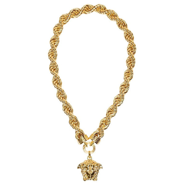 New Versace Runway 24k Gold Plated Medusa Chain Necklace as seen on Bruno Mars