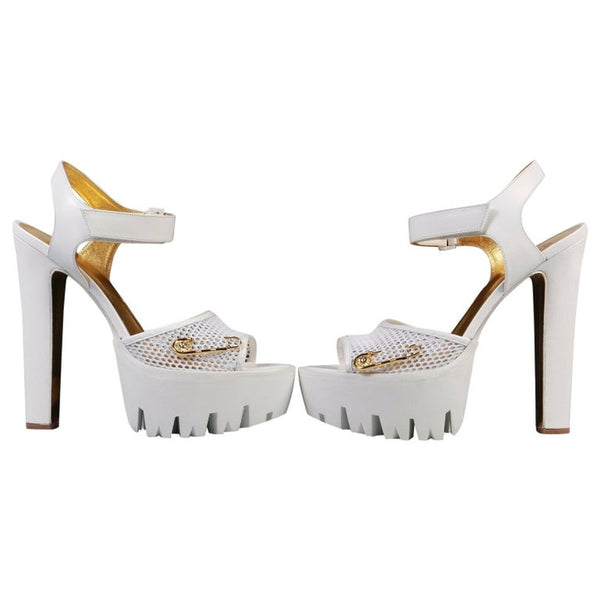 New Versace Versus + Anthony Vaccarello White Platform Sandals