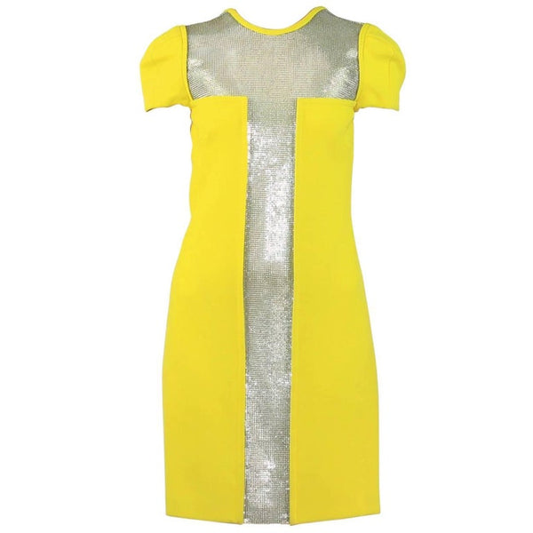 New Versace Yellow Dress with Metal Chain Mesh