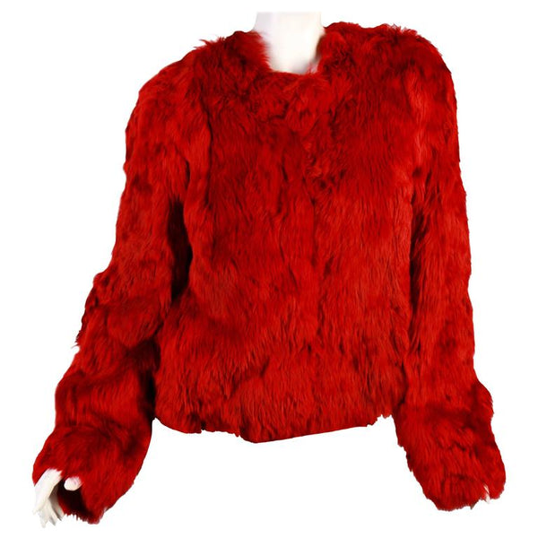 New Versace Red Alpaca Fur Jacket
