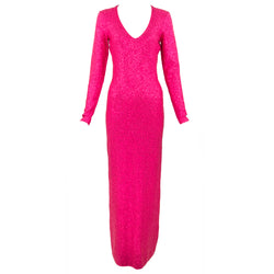 Oscar de la Renta Fuchsia Knit Sequin Maxi Dress
