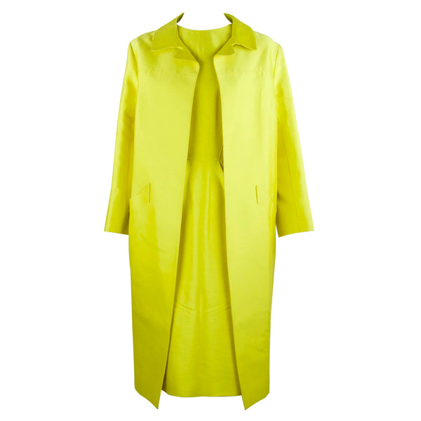 Oscar de la Renta Yellow Dress with Matching Overcoat