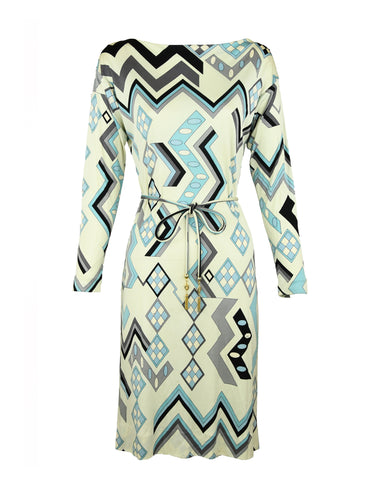 Vintage Pucci Off White, Blue & Gray Silk Jersey Dress
