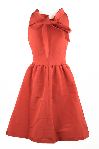 Oscar de la Renta Salmon Dress with Tie Bow