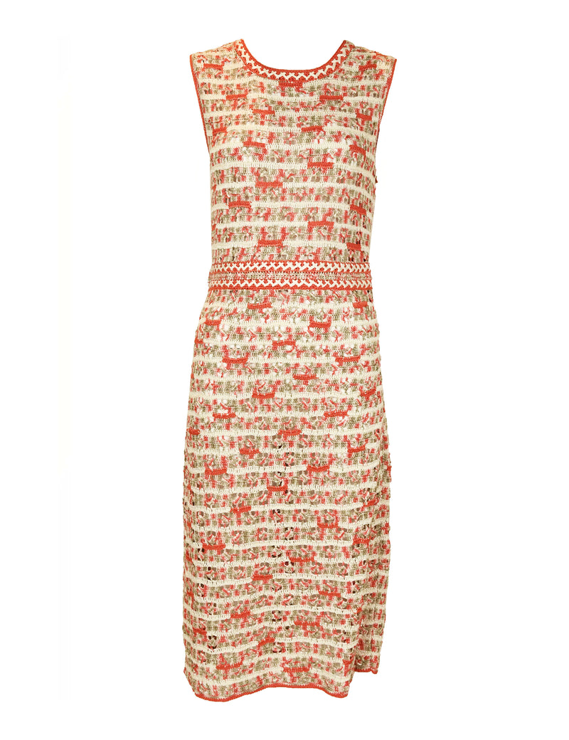 Oscar de la Renta Crochet Sheath Dress