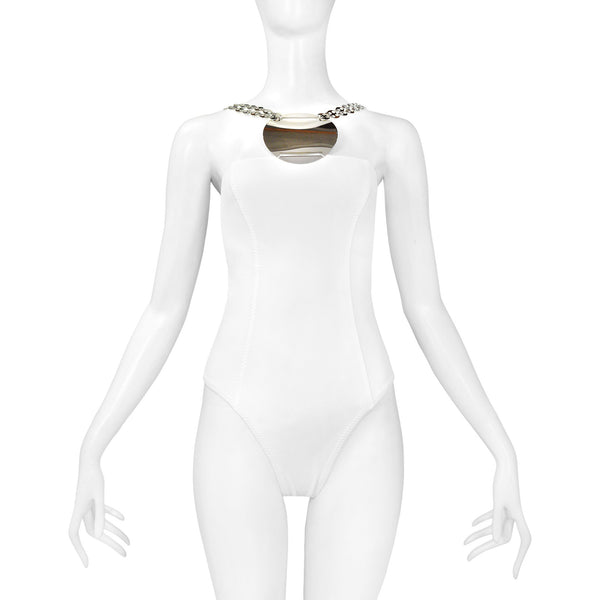 PACO RABANNE WHITE BATHING SUIT WITH METAL DISC 2003