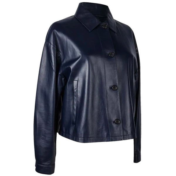 Prada Jacket Royal Navy Lambskin Feather Light 8 Mint