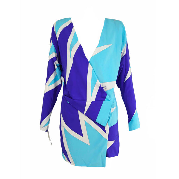 Pucci Blue & Purple Silk Wrap Dress