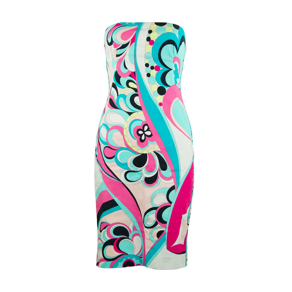 Pucci Multicolored Printed Strapless Dress