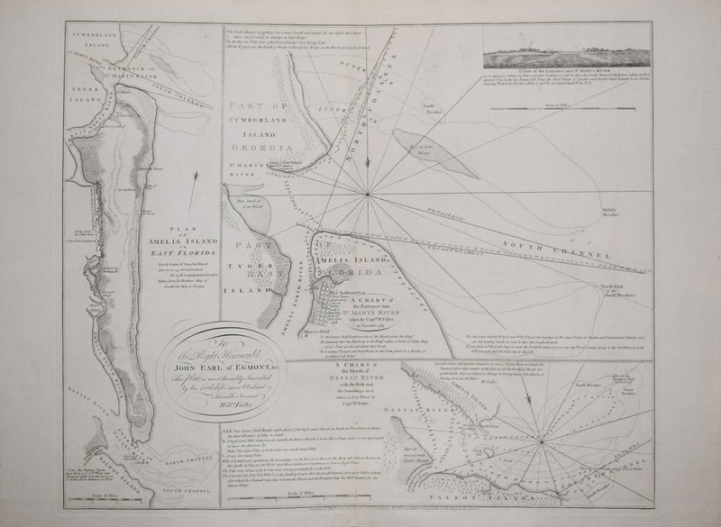 JEFFERYS, THOMAS (1719-1771,) WILLIAM FULLER AND WILLIAM GERARD DE BRAHM (1717-1799), PLAN OF AMELIA ISLAND IN EAST FLORIDA [AND] A CHART OF THE ENTRANCE INTO ST. MARY'S RIVER TAKEN BY CAPT. W. FULLER...