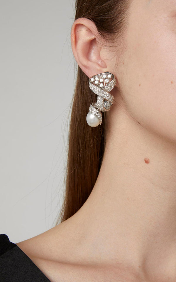 Pearl Diamond Ear Pendants