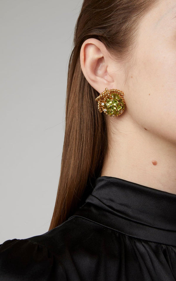 Peridot Gold Grape Earclips