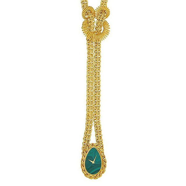 Piaget Gold and Malachite Pendant-Watch Necklace