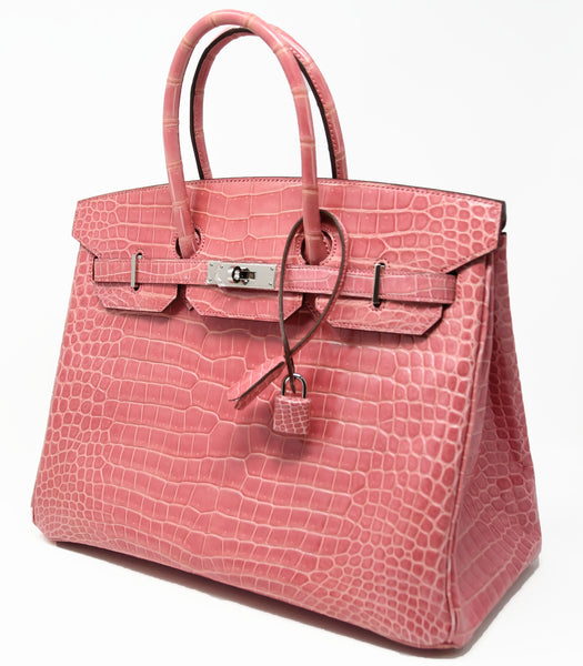 Hermes Birkin Bag 35cm Rose Indienne Porosus Crocodile with Palladium Hardware