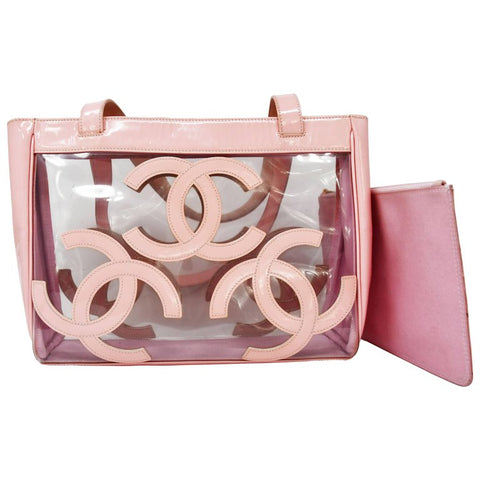 Chanel Nude Pale Pink Patent Leather CC Logo Clear Tote Bag