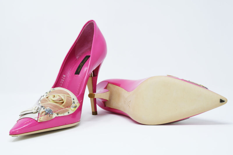 Louis Vuitton After Dark Riviera Fuchsia Patent Leather Pumps