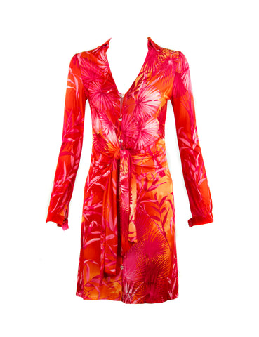 Iconic Gianni Versace Couture Tropical Print Dress in Pink