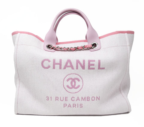 Chanel White Woven Tote with Pink Handle & Chain Strap