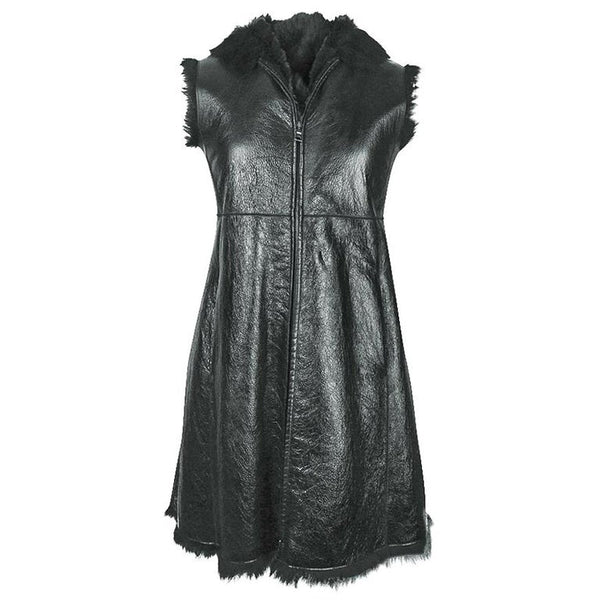 Prada Vest Knee Length Patent Leather Shearling Fur 42 / 8