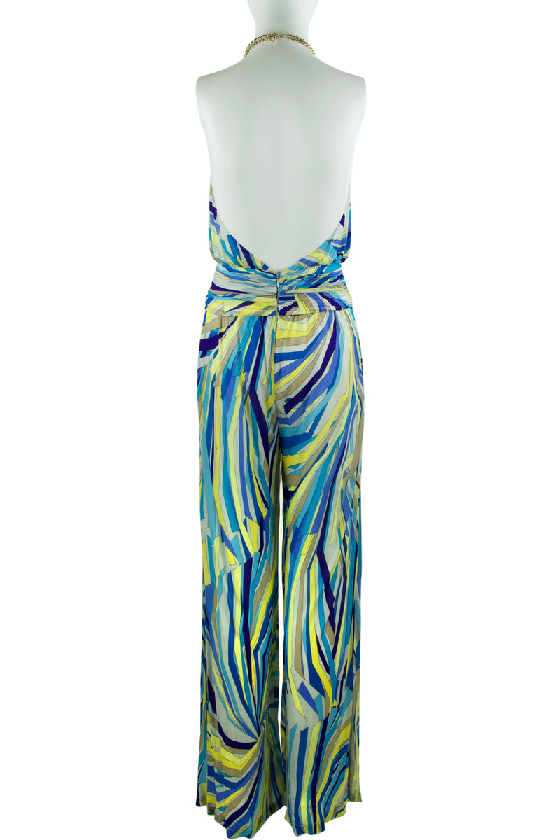 Pucci Stretch Printed Jumpsuit with Gold Chain Halter