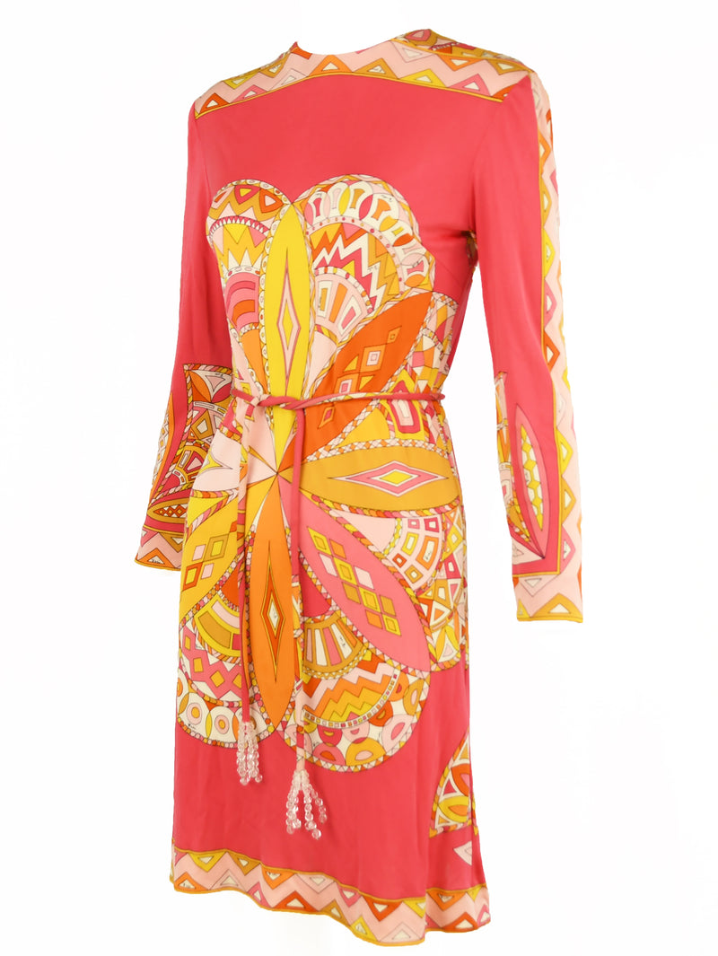 Vintage Pucci Coral, Yellow and Orange Silk Jersey Dress