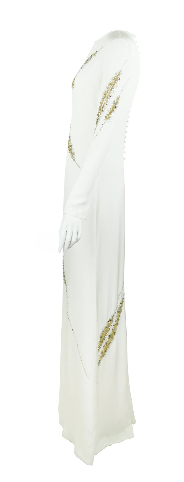 Pucci Long Sleeve Silk Gown with Beading