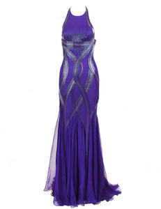 Versace Purple Halter Gown with Beading