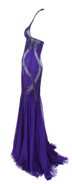 Versace Purple Halter Gown with Beading - Size IT 38