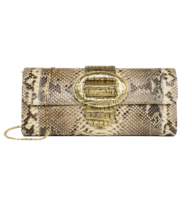Fatto a Mano by Carlos Falchi Python and Gold Clutch