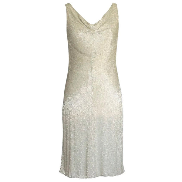 Ralph Lauren Purple Label Exquisite Beaded Silvery Gold Dress 8